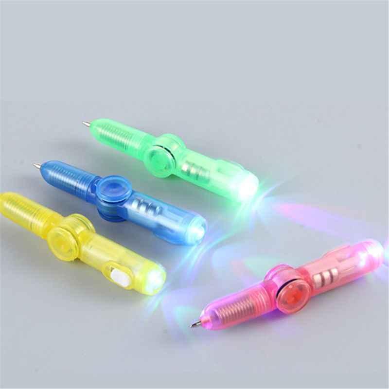 LED bolígrafo giratorio bolígrafo Fidget Spinner brillo superior de mano en luz oscura estrés EDC relieve juguetes niños juguete regalo escolar suministros H7EC