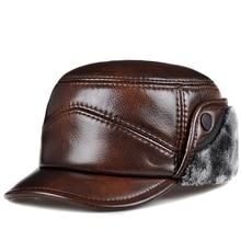 RY0203 2020 Earmuffs Genuine Leather Faux Fur Cap Men Male Thicken Bomber Hats Winter Windproof Warm Hat Flat Gorras Dad Gift