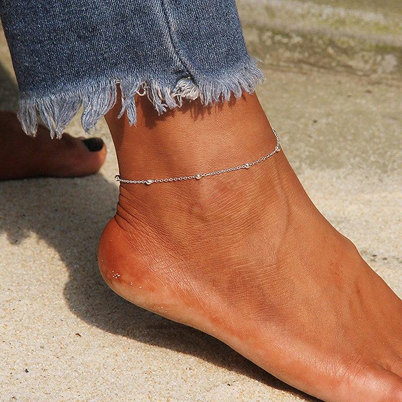 Браслет на ногу USTAR женский из нержавеющей стали, украшение для лодыжки с бусинами, цепочка для ног, Пляжная летняя бижутерия