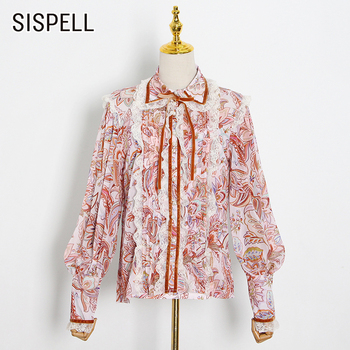 SISPELLpatchwork Lace Bowknot Women's Shirt Lapel Collar Lantern Long Sleeve Print Hit Color For Female Vintage Shirts 2020 Tide lace applique lantern sleeve cold shoulder top