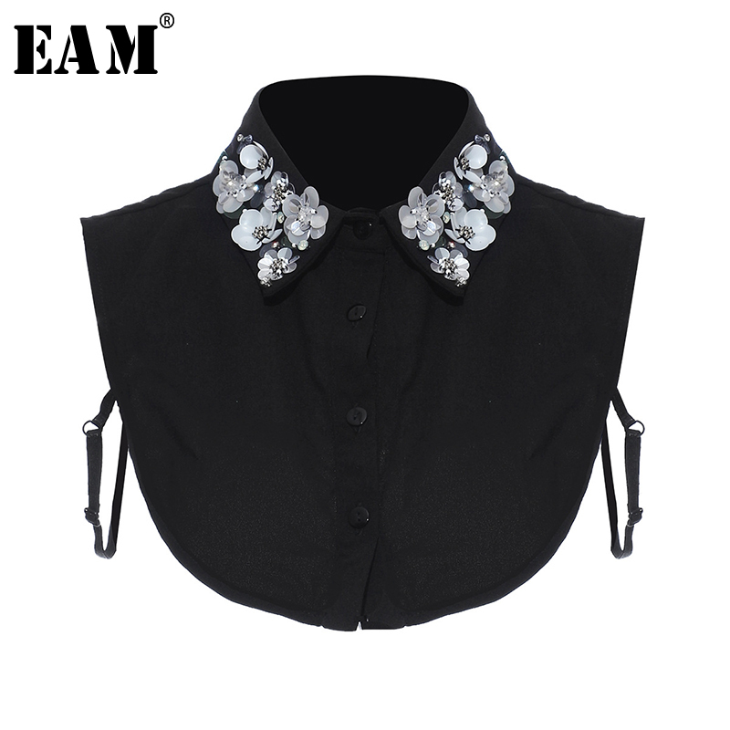 [EAM] Women White Black Flower Nailed Split Temperament Collar New Loose Fit Fashion Tide All-match Spring Summer 2020 1T935