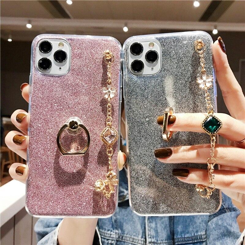 Phone Case For LG W10 W30 K30 2019 K40 K12 Plus K50 K7 K8 K10 2018 Stylus 3 X Power 3 Bling Diamond Bracelet Chain Case