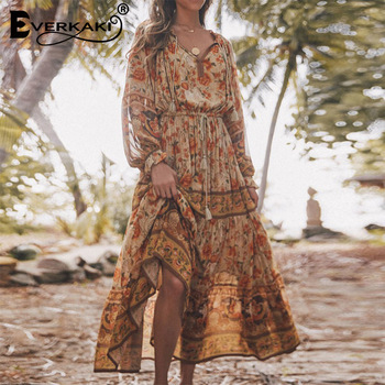 цена на Everkaki Boho Floral Print Long Dress Women Tassels Neck Tied Gypsy Vestidos Ladies Vintage Maxi Dresses Female 2020 Spring New
