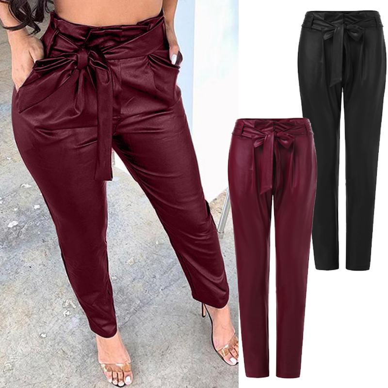 Fashion Women PU Leather Pants ZANZEA High Waist Solid Slim Pencil Pants Autumn Casual Skinny Trousers With Belt Turnip Pantalon