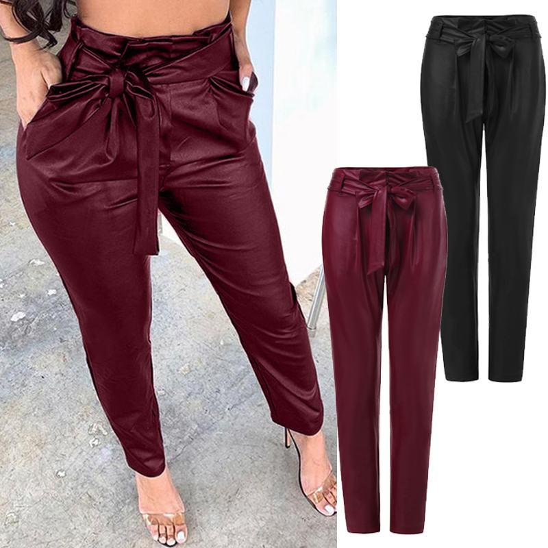 Fashion Women PU Leather Pants ZANZEA High Waist Solid Slim Pencil Pants Autumn Casual Skinny Trousers With Belt Turnip Pantalon
