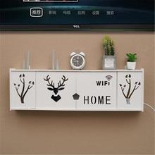 Storage Box Wireless Wifi Router Wall Hanging Plug Board Bracket Cable Organizer PVC Panel Shelf Home Decor