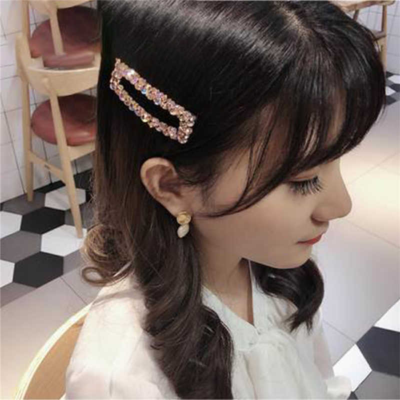 Korea błyszczące kryształowe spinki do włosów kobiety geometryczne Waterdrop kolorowe strasy spinki do włosów dla dziewczynek akcesoria do włosów