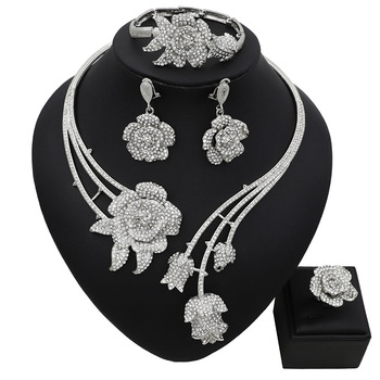 Abstract Flower Pendant Pattern Rhinestone Jewelry Set  1
