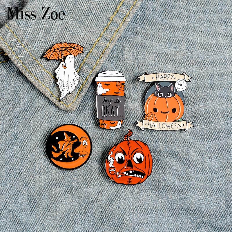 Happy Halloween Enamel Pin Custom Coffee Moon Ghost Pumpkin Umbrella Brooches Backpack Clothes Lapel Pin Fun Badge Jewelry Gift 1