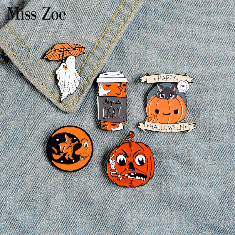 Broche de esmalte, feliz halloween pin de esmalte, café, fantasma, lua, guarda-chuva, mochila, presentes de joia