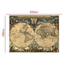 150x225cm Medieval Map Latin Portuguese Non-woven Waterproof Retro Style Decorative