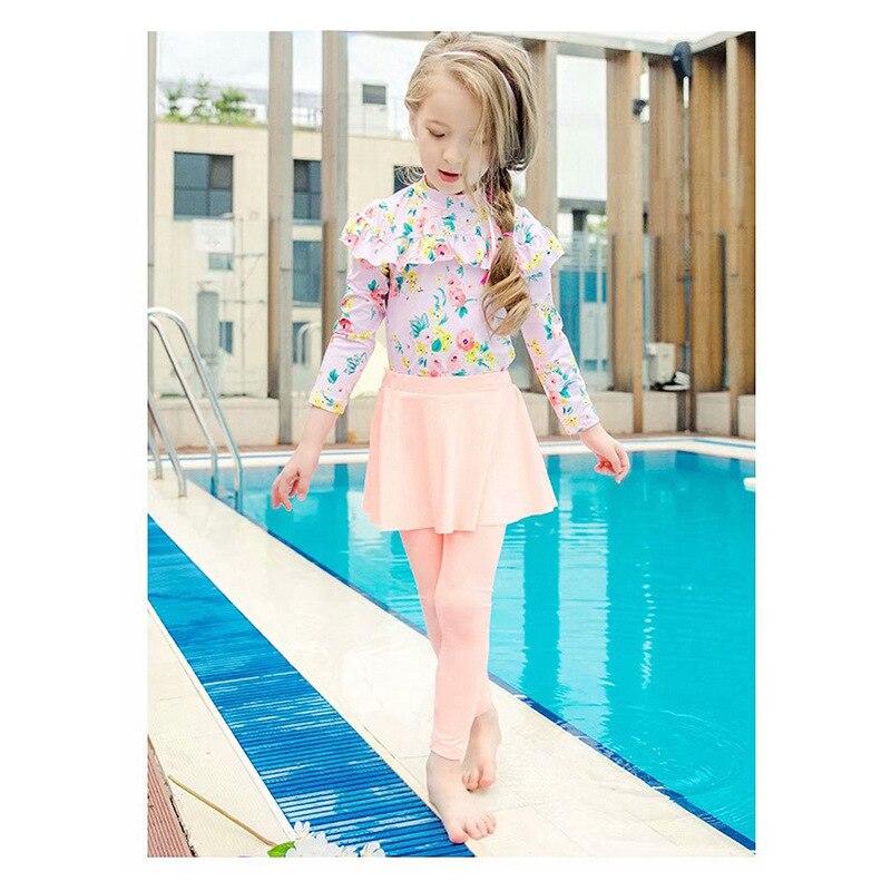 Hipster Sweet Girl Bathing Suit Sun-resistant Split Type Two Piece Set Skirt With Swim Cap CHILDREN'S Swimwear Girls Literature