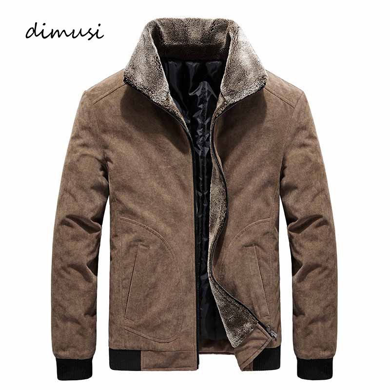 DIMUSI Winter Men's Bomber Jackets Casual Male Fur Collar Windbreaker Jacket Mens Fleece Warm Slim Corduroy Jackets Clothing 6XL