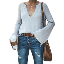 Slim Women Knitwear Knitted Solid Women Sexy Split Knitted Sweater Autumn Winter Pullovers Knitwear V Neck Knit Tops new autumn winter sexy midriff baring sweaters loose solid knitted pullovers casual deep v neck sweater knitwear