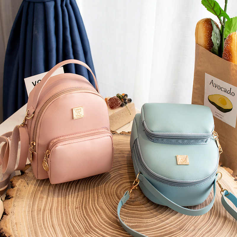 Fashion Style Women Mini Backpack PU Leather Shoulder Bag For Teenage Girls Multi-Function Small Bagpack Female Phone Pouch