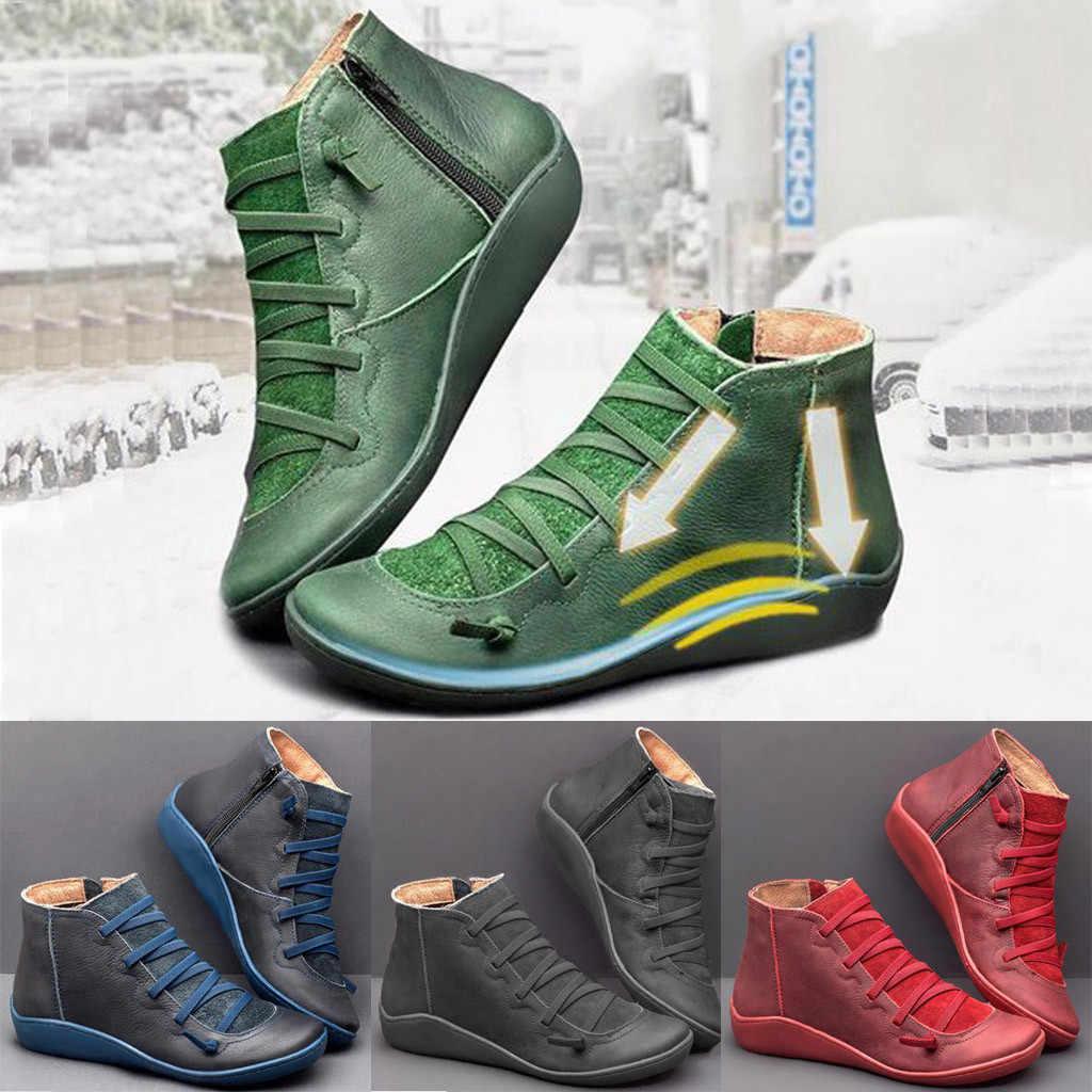 Delle donne casual Piatto In Pelle Retro Inferiore Molle Comode delle donne allacciate stivali Cerniera Laterale Punta Rotonda Scarpe stivali delle donne inverno 2019