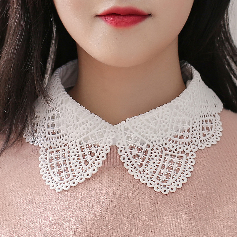 Blouse Women Autumn elegant Lace White Shirt Detachable Fake Collar 2020 Winter Fashion Casual Ladies Clothing