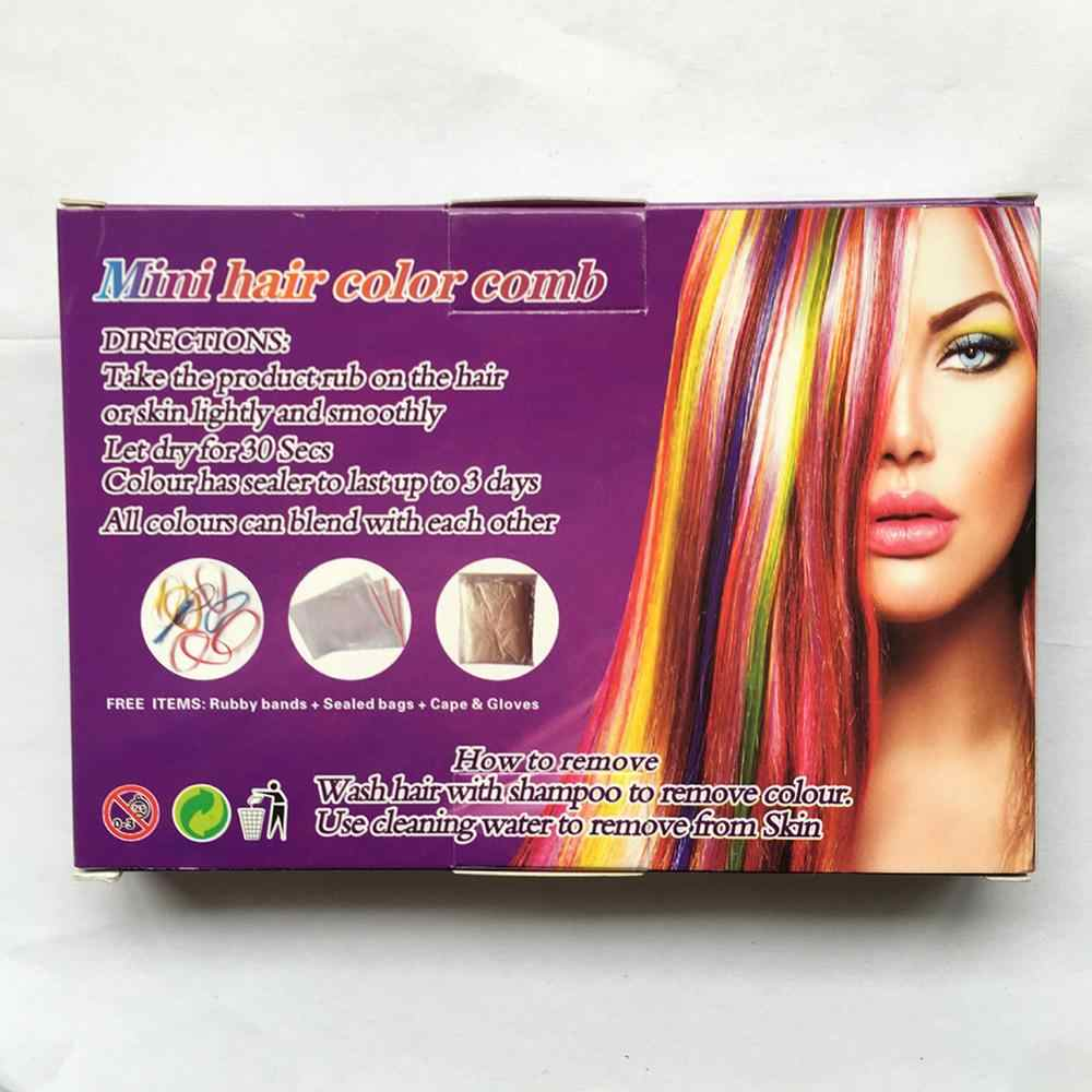 Cheveux temporaires Pro Mini craies Crayons 6 couleurs pour cheveux multicolore couleur colorant cheveux teinture peigne soins des cheveux outils de coiffure