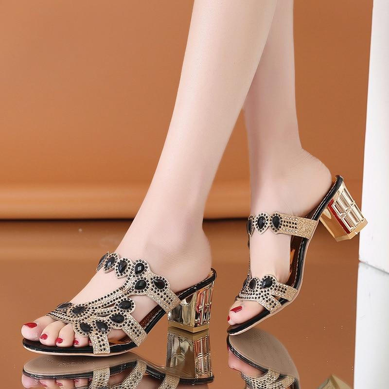 Lucyever Women Summer Slipper Sandals Fashion Hgih Heels Open Toe Crystal Sandals Ladies Rhinestone Bohemia Beach Flip Flops