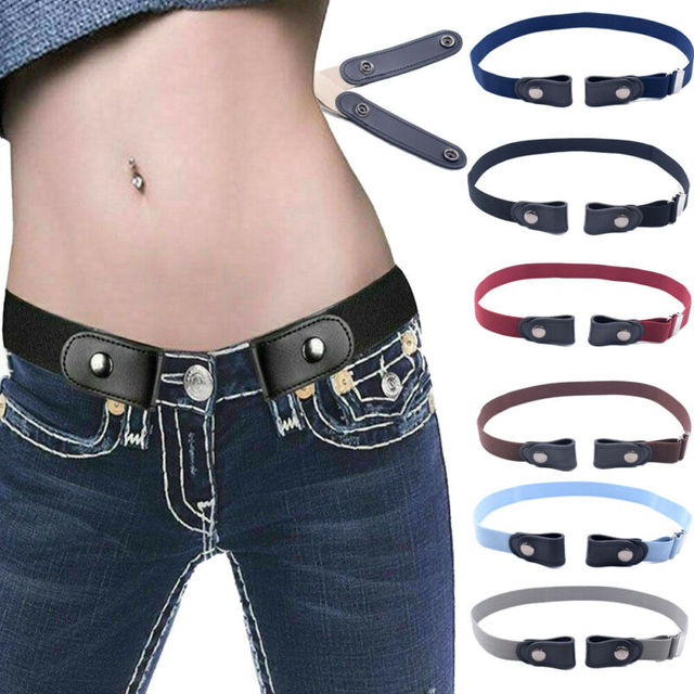 Women's Buckle-Free Elastic Belts Invisible Belt for Jeans No Bulge Hassle Band Fashion Casual Adjustable Button Canvas Belt 2
