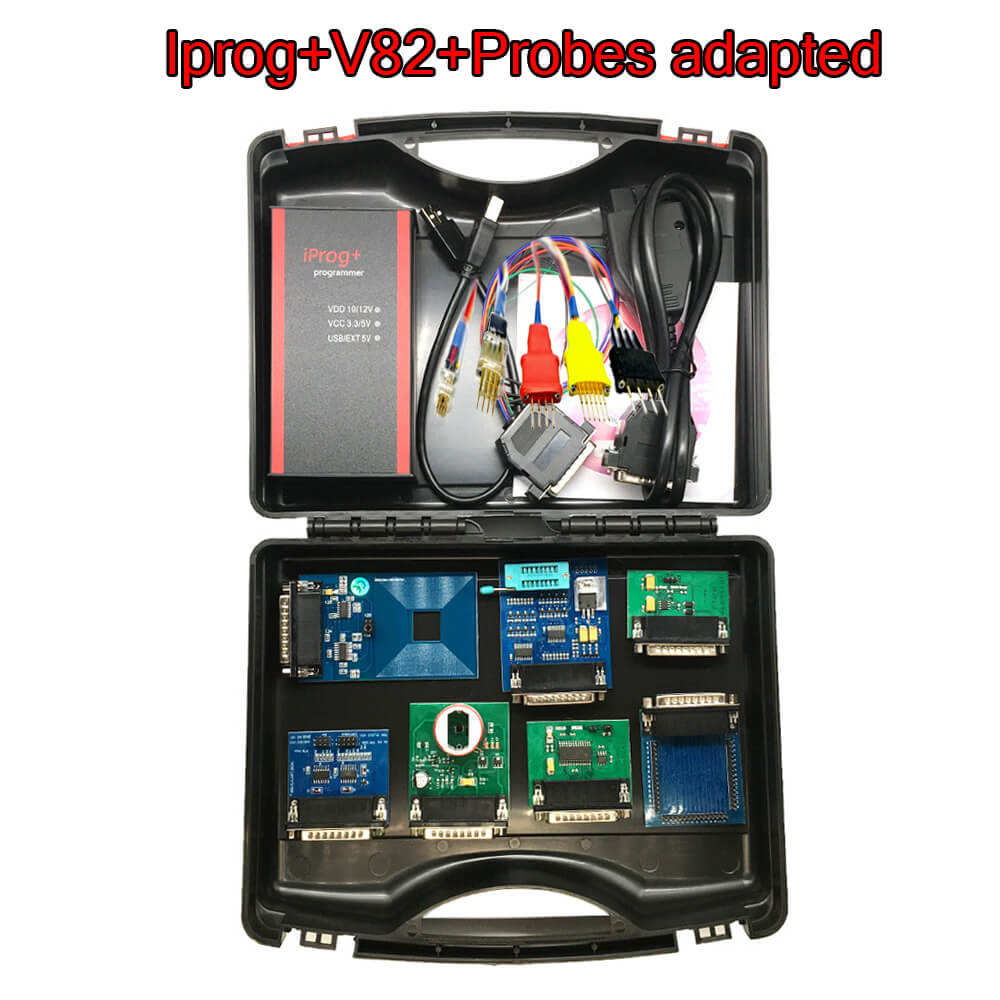 Newest V82 V80 Iprog+ Pro With Probe Adapters For In-circuit ECU Programmer & Mileage Correction + Airbag Reset +IMMO+EEPROM