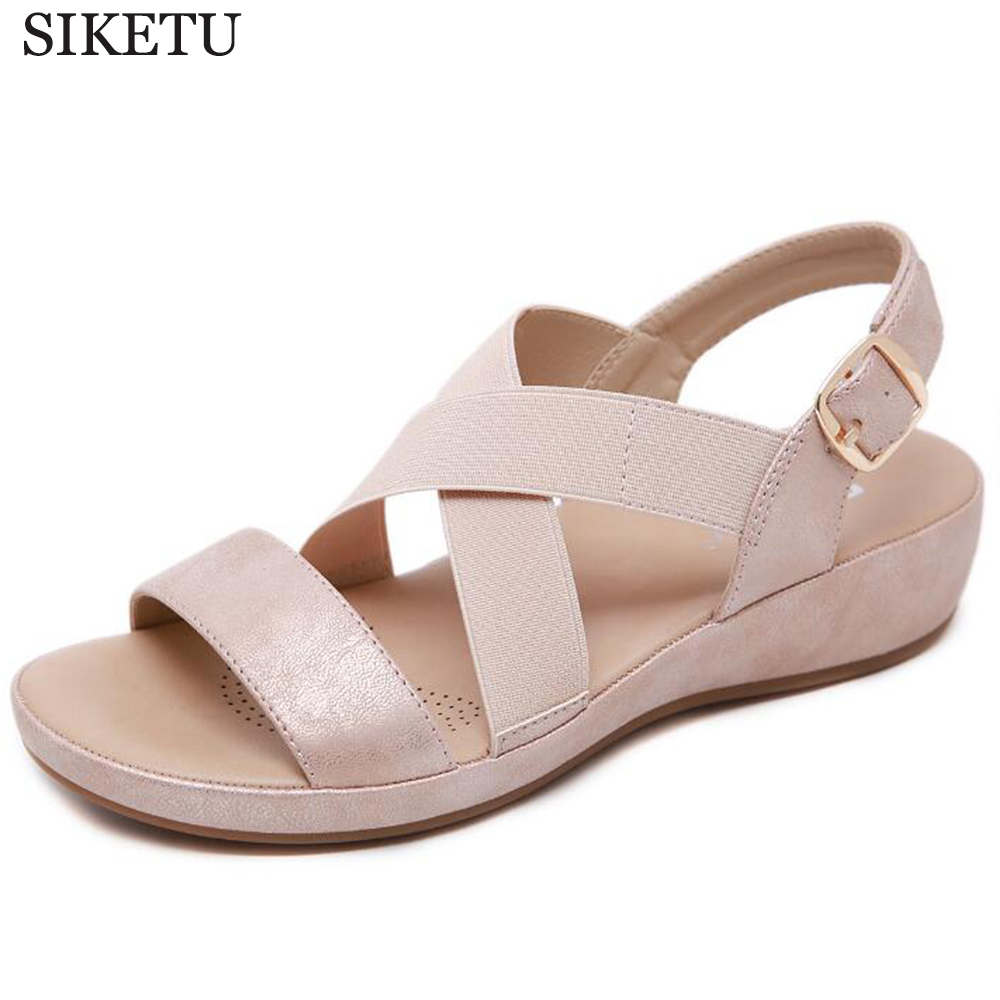 Summer New Flat Sandals Women Shoes Gladiator Open Toe Buckle Wedge Sandals Female Casual Women's Flat Platform Beach Shoes Hy61