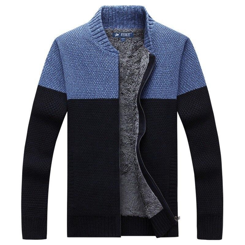 Men's Cardigan Sweater Winter Fleece Warm Thick Velvet Sweater Coats Casual Patchwork Color Zipper Men Sweaters Knitwear SA-8