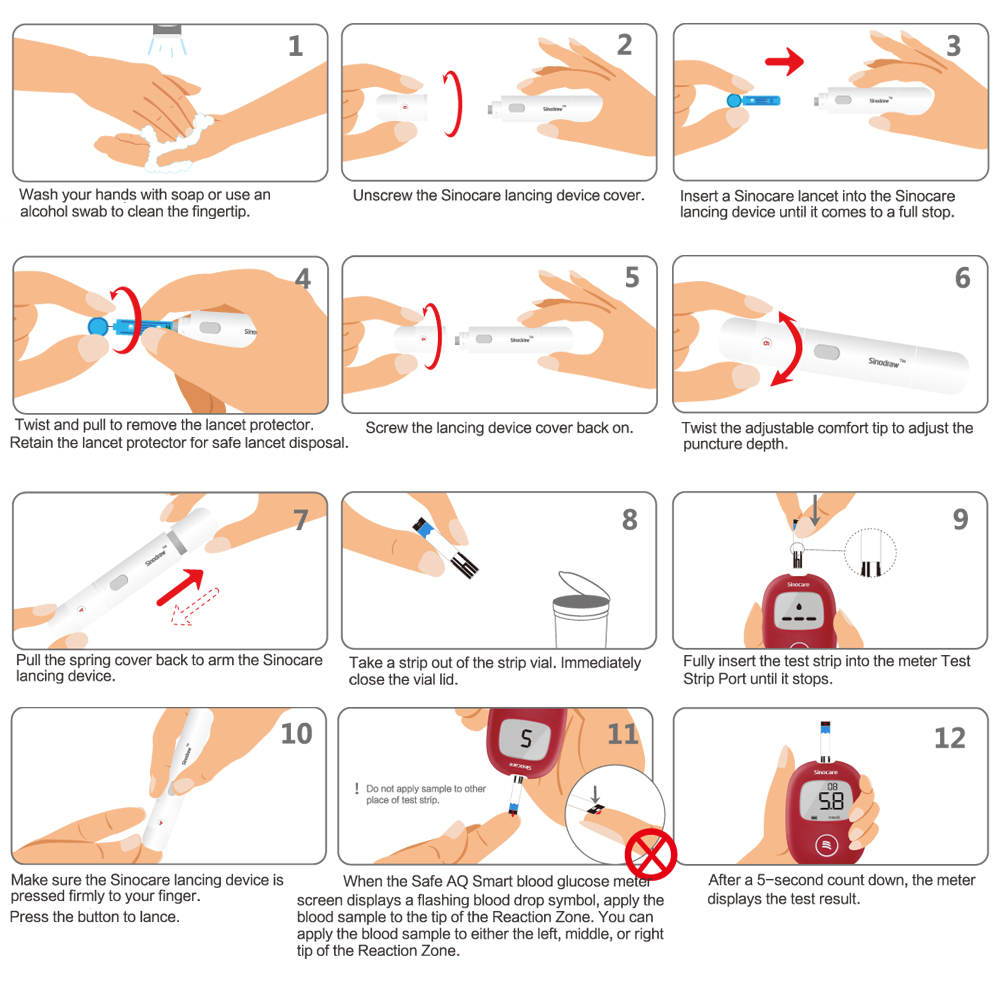 Image 5 - آمنة الذكية 5s 0.6ul جهاز قياس السكر بالدم مع شرائط الاختبار و المشارط إبر من ل السكري غلوكمتر شاشة طبية الإنجليزية-في جلوكوز الدم من الجمال والصحة على AliExpress