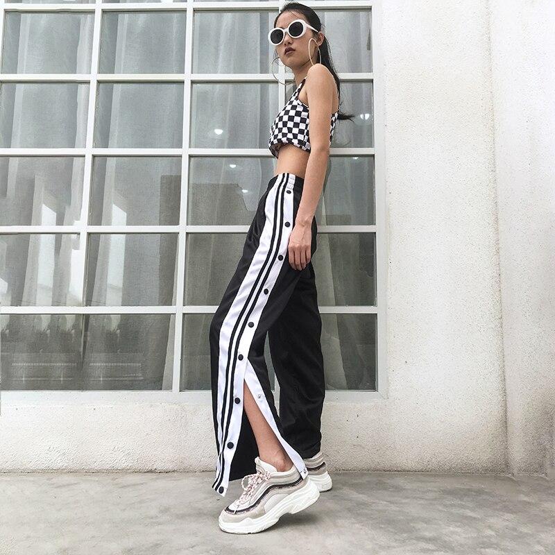 Hip Hop Women Streetwear Sweatpants Female Button Pants For Women Loose Split Women's Sports Pants Elastic Waist Trousers