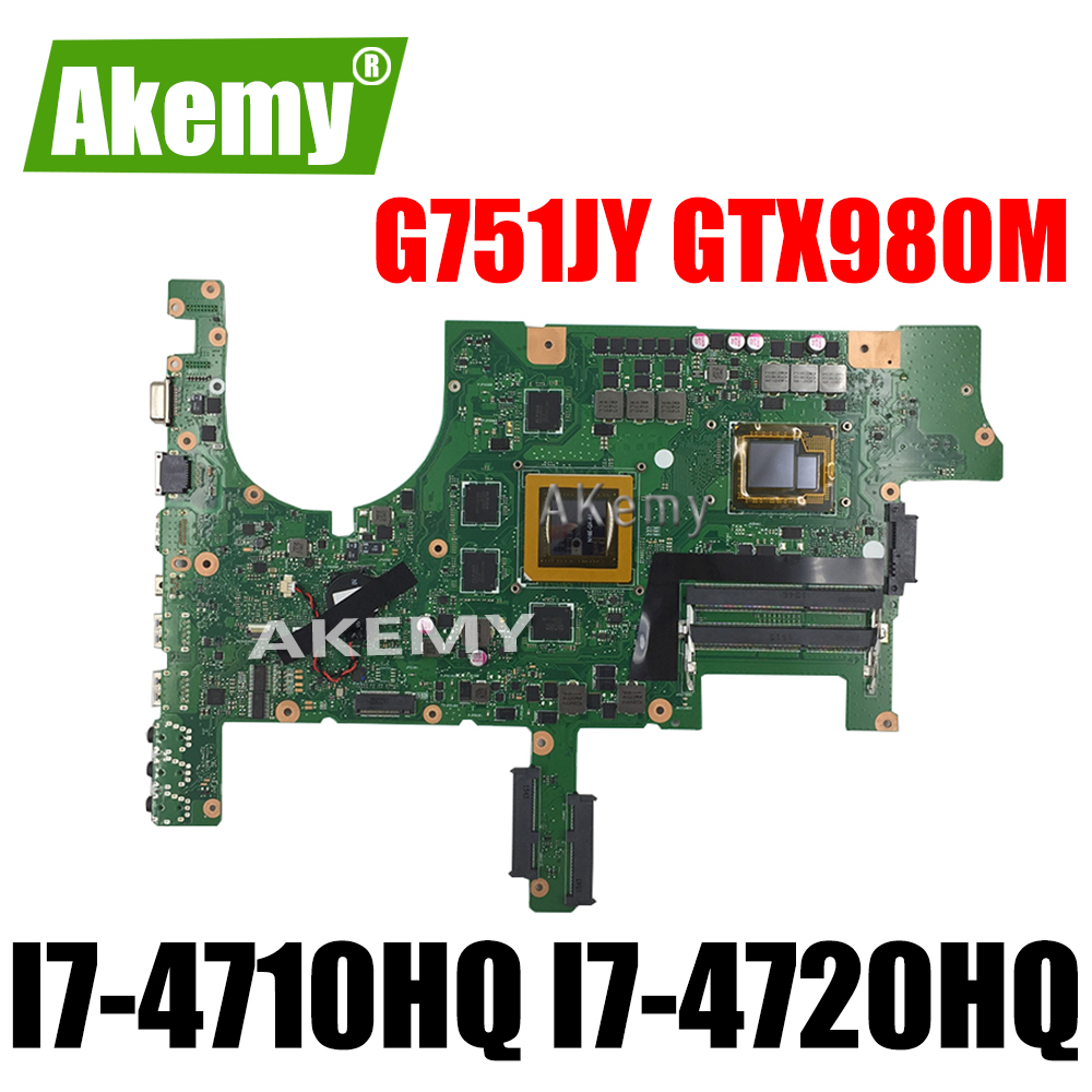<font><b>G751JY</b></font> <font><b>Motherboard</b></font> For Asus G751 G751J <font><b>G751JY</b></font> G751JT Laptop <font><b>motherboard</b></font> Mainboard I7-4710HQ I7-4720HQ GTX980M 4GB image