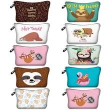 Multicolor Cute Pattern Makeup Bags 3D Cartoon Tree Sloths Printing Organizer Cosmetic Bag Zipper Portable Pink Blue