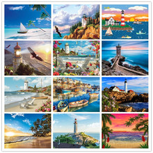 5D DIY diamond painting full round rhinestone landscape embroidery stickers cross stitch mosaic