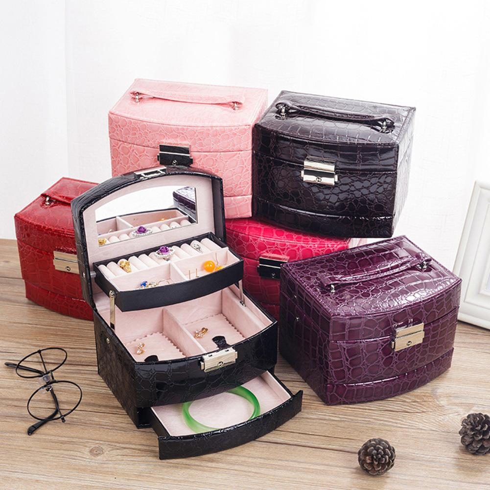 New Jewelry Organizer Display Travel Jewelry Case Boxes Portable Jewelry Box Zipper Leather Storage Joyeros Organizador De Joyas