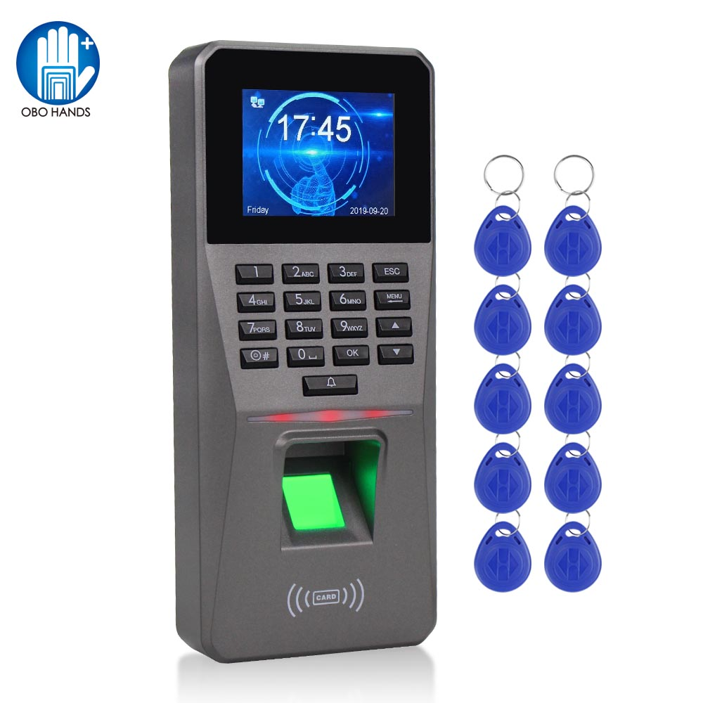 2.4inch TCP/IP/USB Biometric RFID Fingerprint Access Control System Electronic Time Clock Attendance Machine +10 Keyfobs