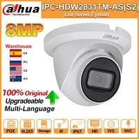 Dahua Original 8MP 4K HD IP Kamera IPC-HDW2831TM-AS-S2 IPC PoE IR 30m WDR IP67 H.265 Mic IVS Netzwerk kamera CCTV Sicherheit Camara
