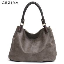 CEZIRA Causal Large Women Pu Leather Shoulder Bags Solid Thread Hobo Vegan Leather Tote Female Fashion Handbags Crossbody Bags