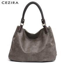 CEZIRA rahat büyük kadınlar için Pu deri omuz çantaları katı iplik Hobo Vegan deri Tote kadın moda çanta Crossbody çanta
