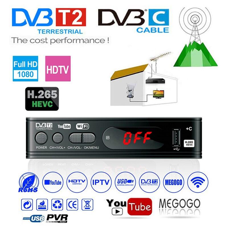 HD Dvb T2 Hevc 265 Set Top Box Dvb-t2 H.265 Tv Tuner 1080P Youtube Decoder Usb2.0 Wifi Digitale Terrestre Dvb C H265 Setobox
