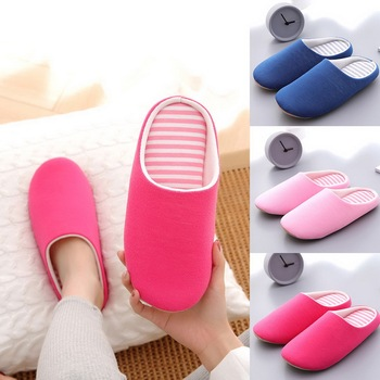 Women Indoor Slippers Short Plush Spring Autumn Flat Shoes Woman Home Bedroom Slides Striped Slip On