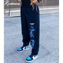 Rockmore gotik kelebek yıldırım baskı Sweatpants kadınlar Casual Baggy spor Joggers yüksek belli pantolon siyah kargo pantolon