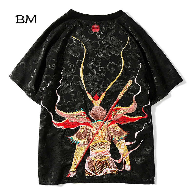 Alta calidad estilo chino versized camiseta sukajan Sun Wukong bordado divertido camisetas hombres ropa 2019 talla grande 5XL tops