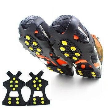 1 par de 10 tachuelas antideslizantes pinzas de hielo pinchos mujeres hombres chico chica invierno nieve antideslizante escalada zapato picos antideslizante zapatos cubierta