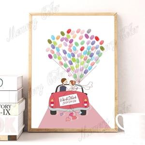 Image 1 - Arbre dempreinte digitale de mariage, personnalisé avec nom et Date, livre dor en toile, bricolage, décoration de réception de mariage, tampon dencre inclus