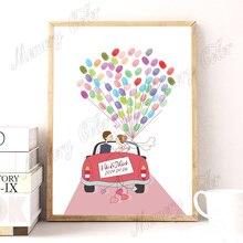 Nombre personalizado fecha boda coche boda árbol huella digital DIY libro de visitas lienzo para decoración para fiesta de boda (almohadilla de tinta incluida)