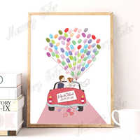 Personalized Name Date Wedding Car Wedding Tree Fingerprint DIY Guestbook Canvas For Wedding Party Decoration (Ink Pad Included)