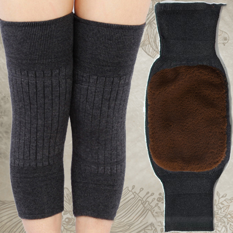 2pcs Cashmere Knee Sleeve Winter Warm Men And Women Double Thick Wool Protection Knee Plus Velvet Wind And Cold Protective Gear