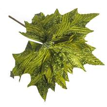 Artificial Glitter Tree Leaves Christmas Decoration Home Garden Decoration Artificial Flower Decorative Leaves 6 Colors
