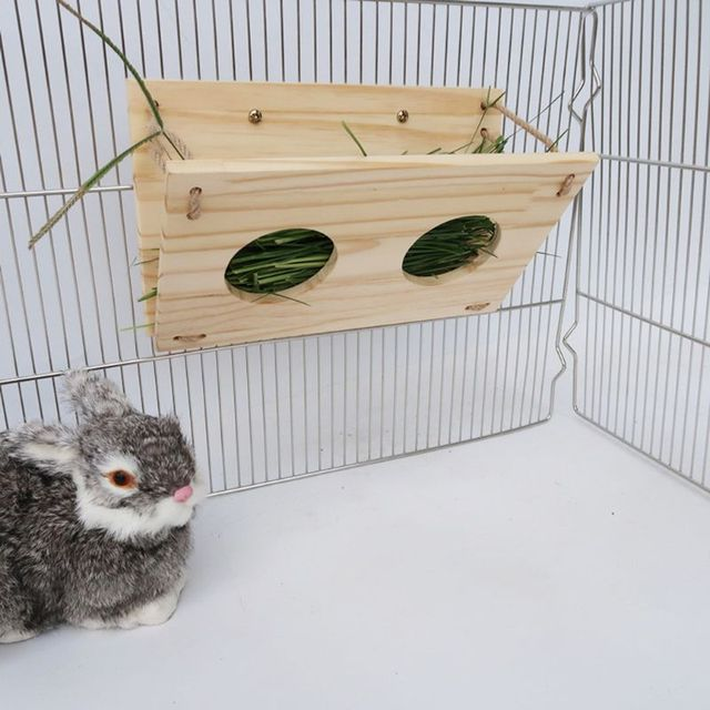 Wooden Rabbit Hay Feeder Hay Manger Rack Holder Hamster Food Dispenser for Guinea Pig Bunny Chinchilla 5