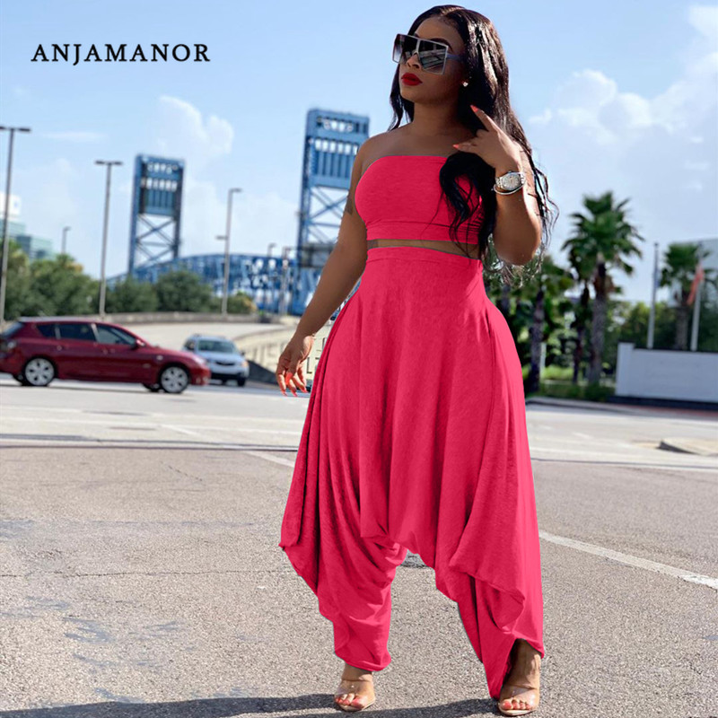 ANJAMANOR Sexy Two Piece Set Crop Top And Harem Pants Plus Size Matching Sets Fall 2019 Women Club Outfits Neon Pink D64-AE66