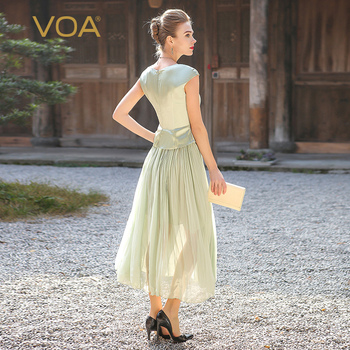VOA Plus Size elbise Georgette Silk Long Dress Women Sweet Mint Green Tunic Summer Dresses Short Sleeve Casual vestido A5716 2